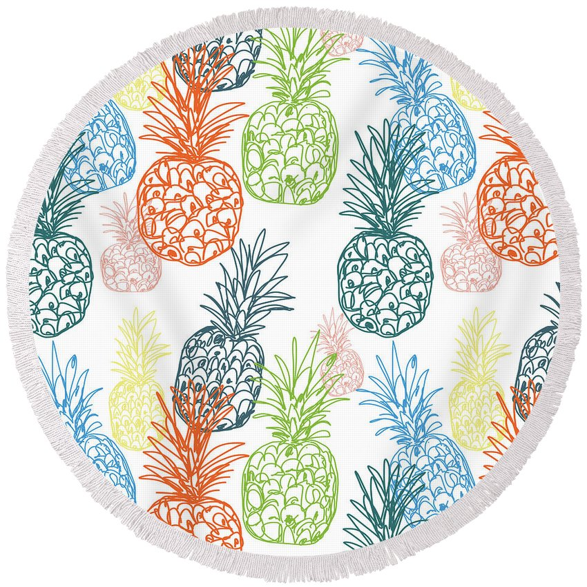 Pineapple Round Beach Towel featuring the digital art Happy Pineapple- Art By Linda Woods by Linda Woods