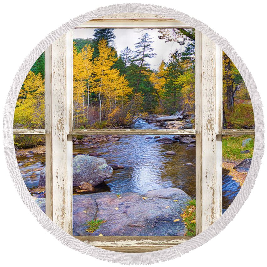 Picture Round Beach Towel featuring the photograph Happy Place Picture Window Frame Photo Fine Art by James BO Insogna