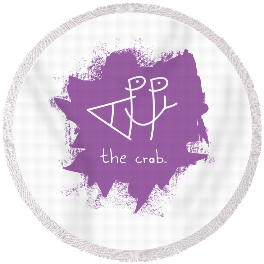 Happy Round Beach Towel featuring the mixed media Happy The Crab - Purple by Chris N Rohrbach