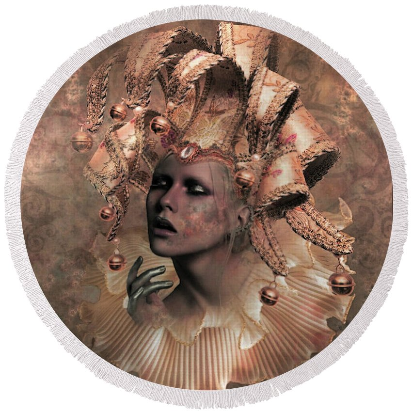 Emotional Round Beach Towel featuring the mixed media Happy Times Times From Yesterday by G Berry