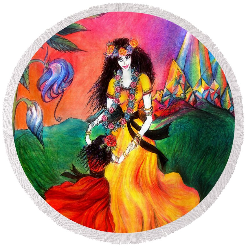 Ameynra Round Beach Towel featuring the drawing Happy To Dance. Ameynra And Mother-queen by Sofia Metal Queen