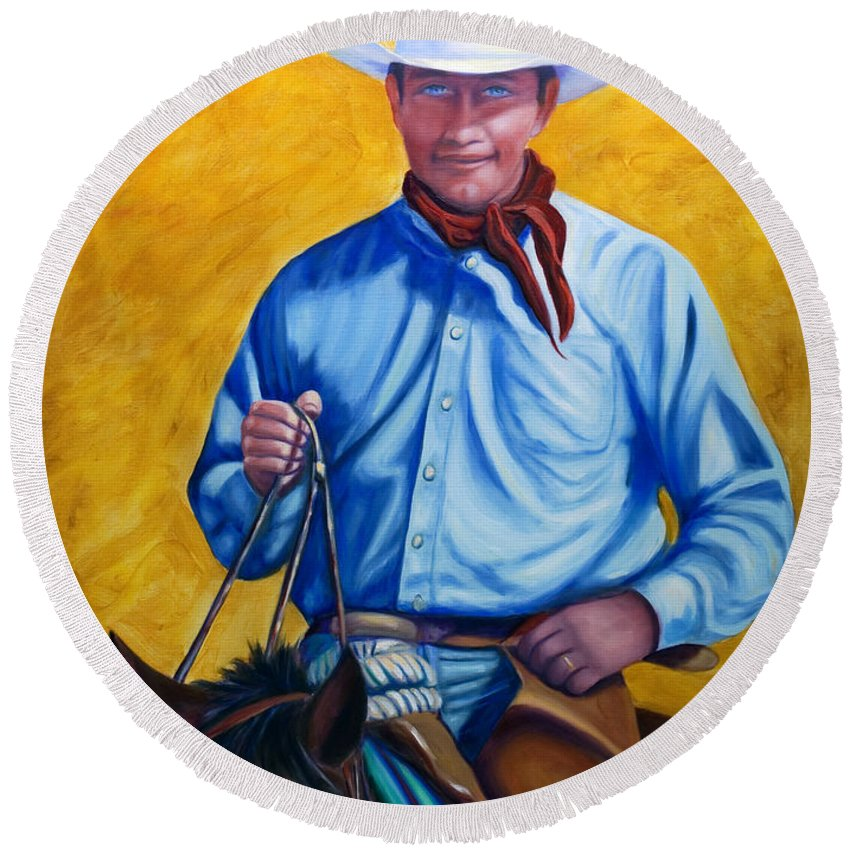 Cowboy Round Beach Towel featuring the painting Happy Trails by Shannon Grissom