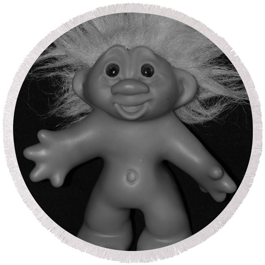 Happy Round Beach Towel featuring the photograph Happy Troll by Rob Hans