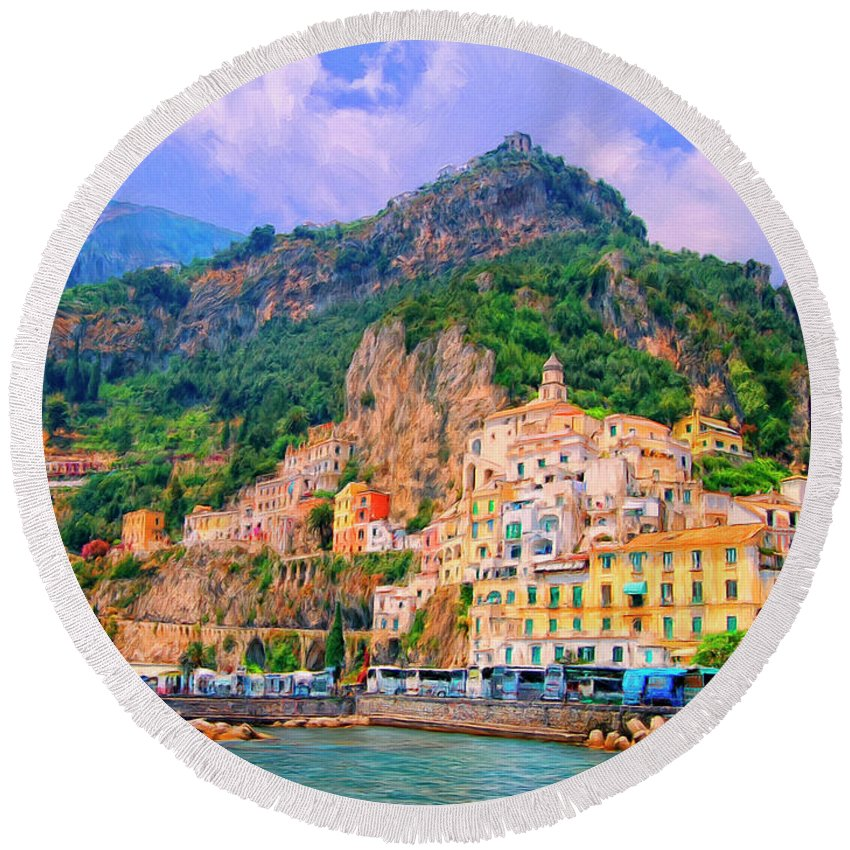 Harbor Round Beach Towel featuring the painting Harbor At Amalfi by Dominic Piperata