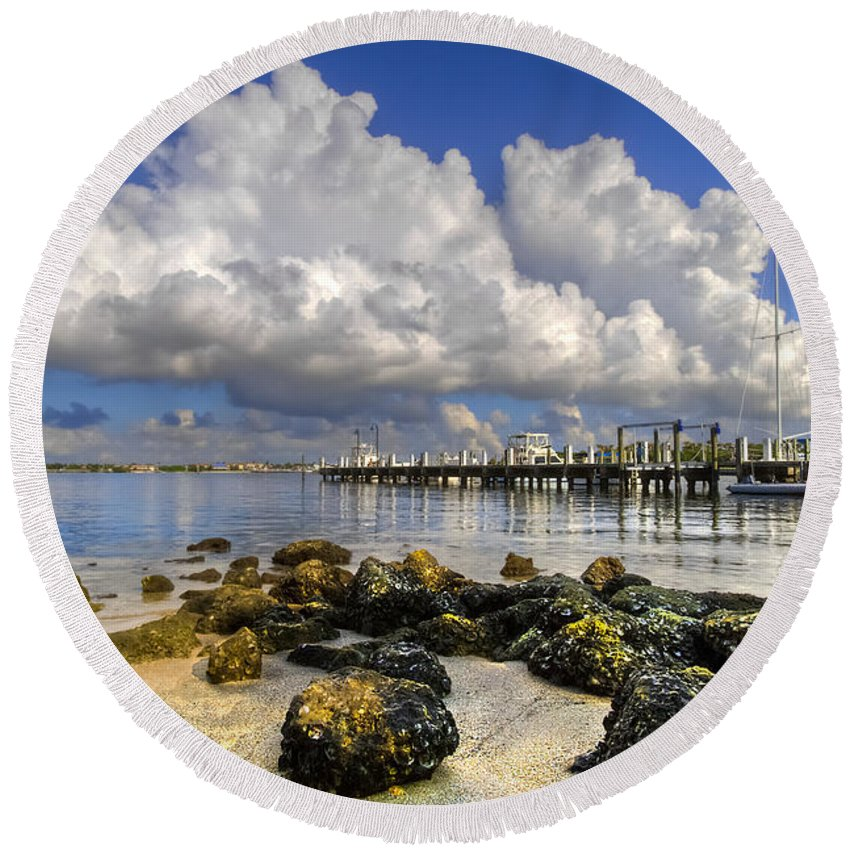 Boats Round Beach Towel featuring the photograph Harbor Clouds At Boynton Beach Inlet by Debra and Dave Vanderlaan