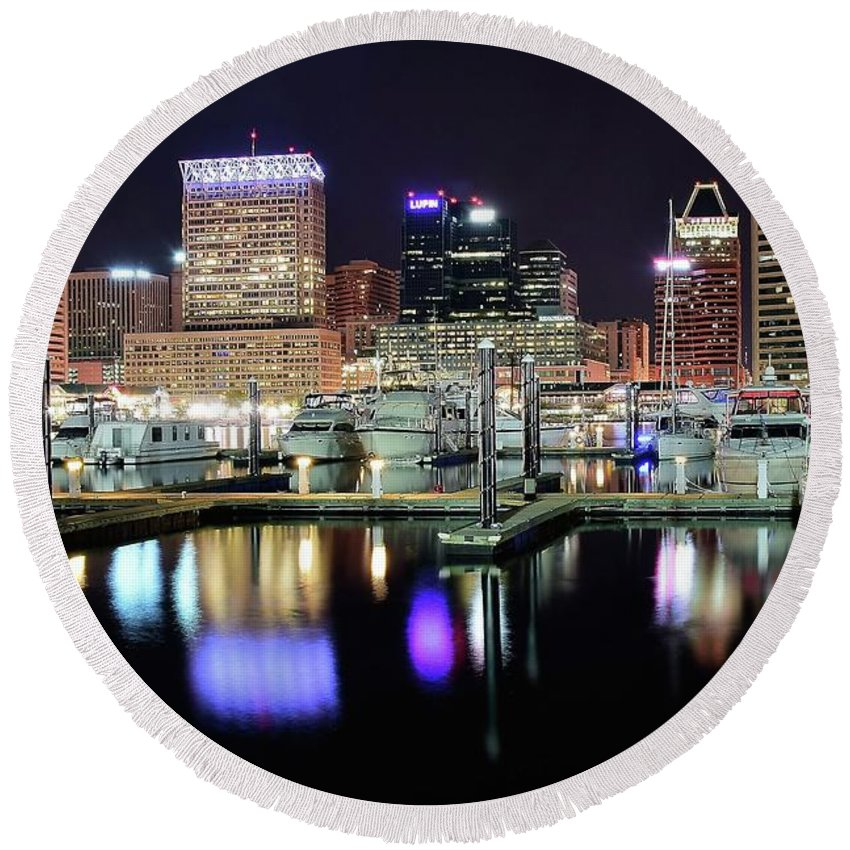 Baltimore Round Beach Towel featuring the photograph Harbor Nights In Baltimore by Frozen in Time Fine Art Photography