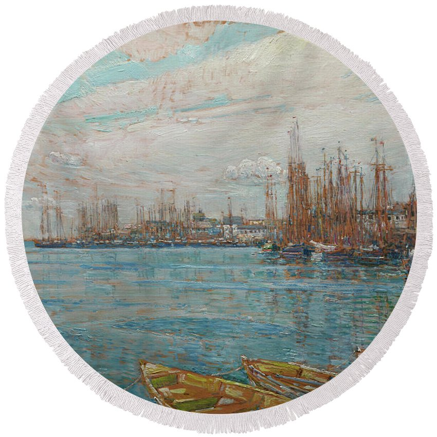 Harbor Of A Thousand Masts Round Beach Towel featuring the painting Harbor Of A Thousand Masts by Childe Hassam