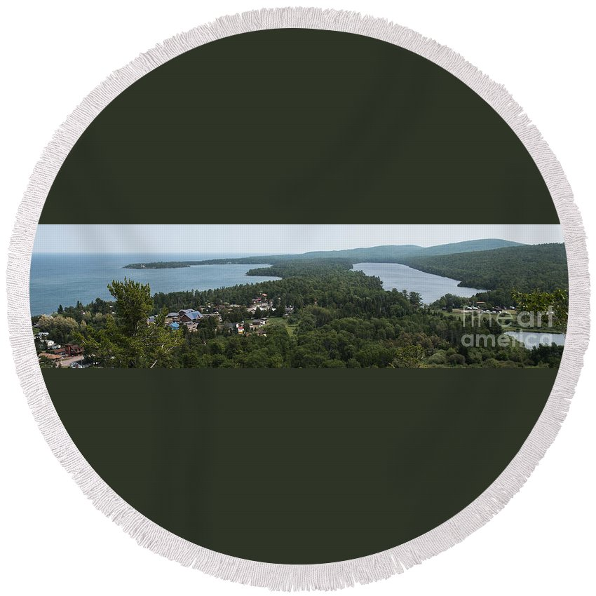 Harbor Round Beach Towel featuring the photograph Harbor Panoramic by Wesley Farnsworth