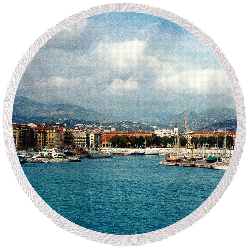Landscape Round Beach Towel featuring the photograph Harbor Scene In Nice France by Nancy Mueller