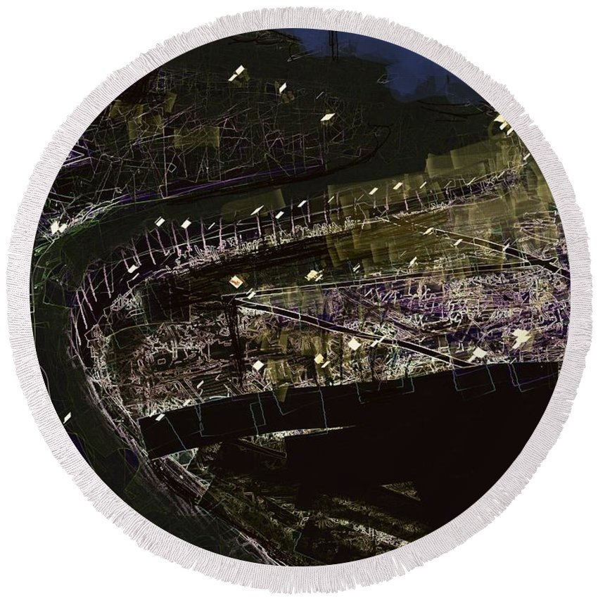 Port Round Beach Towel featuring the digital art Harbour At Night by Subrata Bose