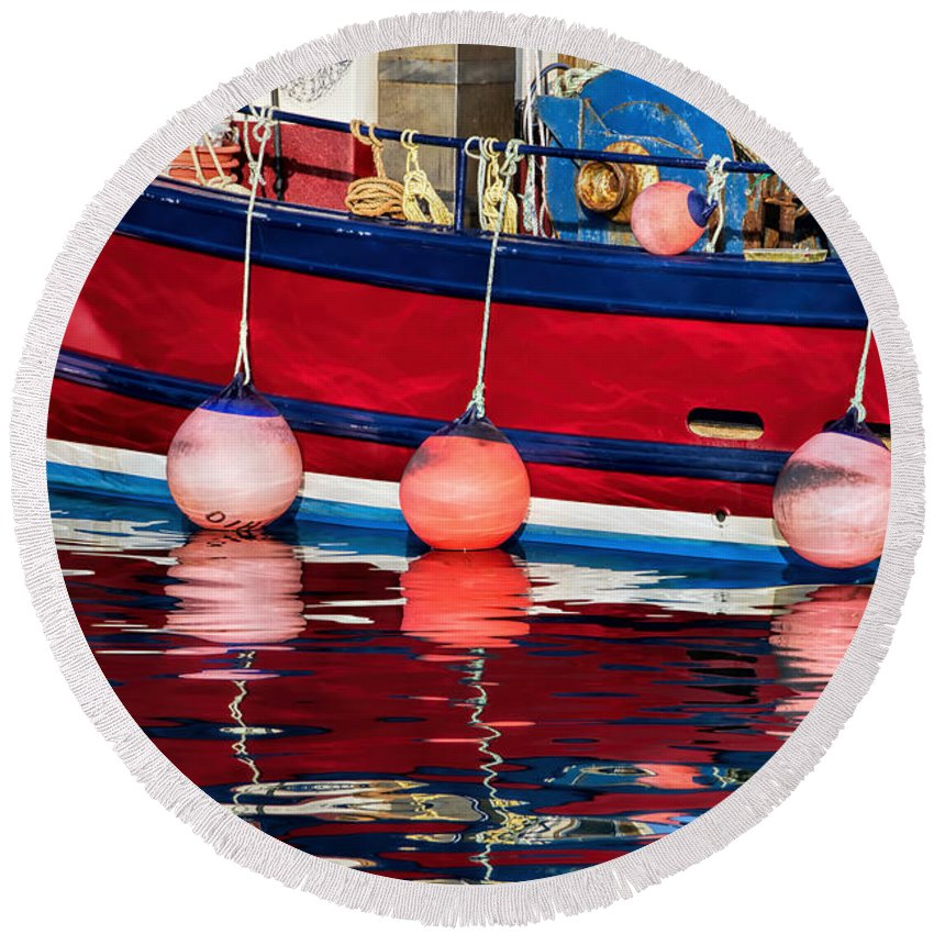Lyme-regis Round Beach Towel featuring the photograph Harbour Reflections 5 - June 2015 by Susie Peek