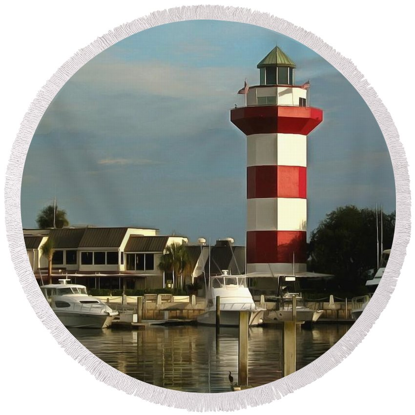 Harbour Town Light Round Beach Towel featuring the photograph Harbour Town Light Hilton Head South Carolina by Harbour Town Light Hilton Head South Carolina