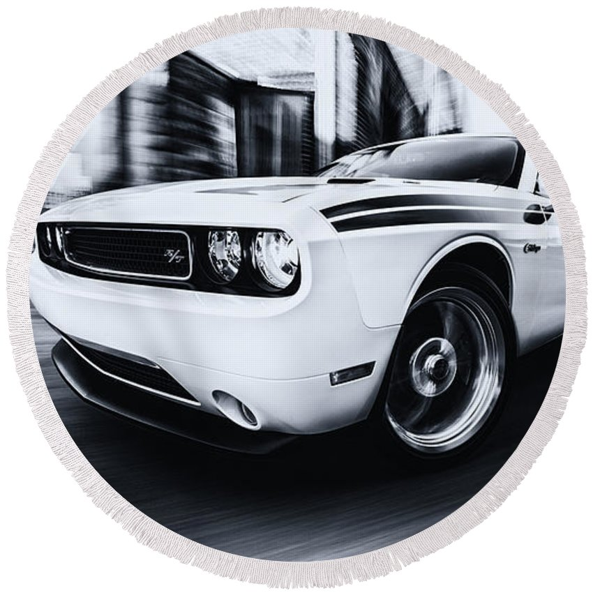 Black And White Car Photography Round Beach Towel featuring the photograph Challenger by Digital Kulprits