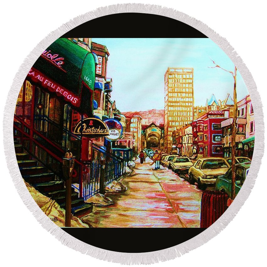 Hardrock Cafe Round Beach Towel featuring the painting Hard Rock Cafe by Carole Spandau