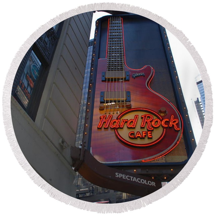 Music Round Beach Towel featuring the photograph Hard Rock Cafe N Y C by Rob Hans