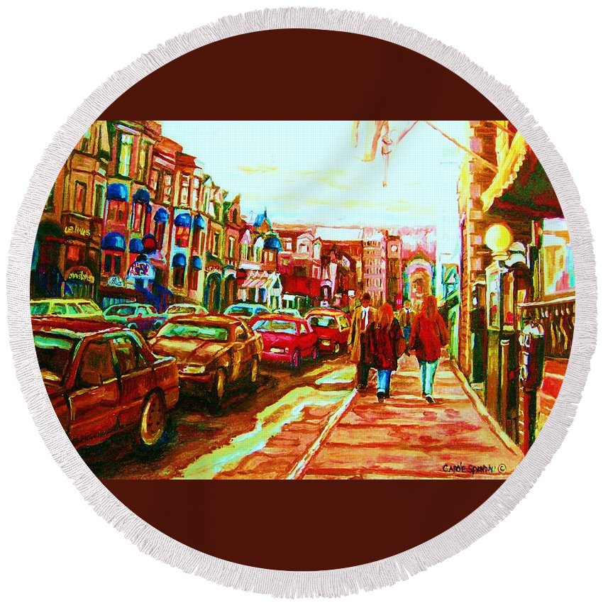 Montreal Streetscenes Round Beach Towel featuring the painting Hard Rock On Crescent by Carole Spandau