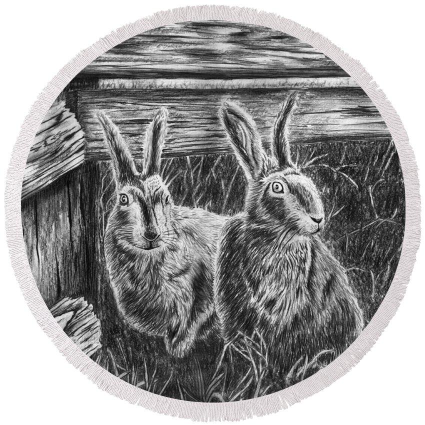 Hare Line Round Beach Towel featuring the drawing Hare Line by Peter Piatt