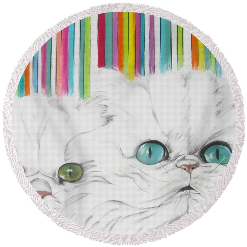 Cat Painting Round Beach Towel featuring the pastel Harley And Chloe by Michelle Hayden-Marsan