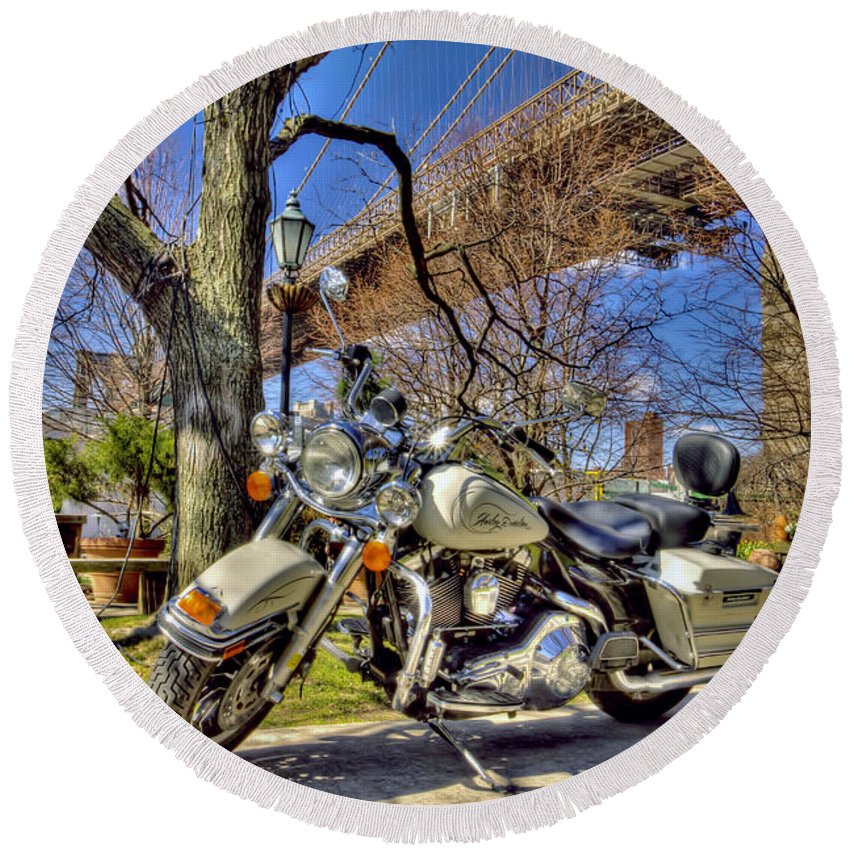 Recent Round Beach Towel featuring the photograph Harley Davidson And Brooklyn Bridge by Geraldine Scull