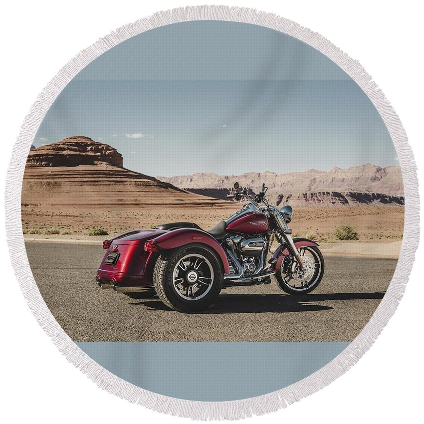 Harley-davidson Freewheeler Round Beach Towel featuring the digital art Harley-Davidson Freewheeler by Super Lovely