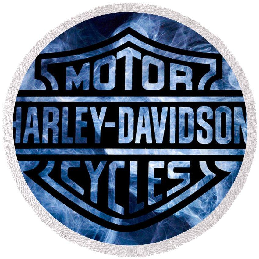 Harley Davidson Logo Blue Round Beach Towel featuring the digital art Harley Davidson Logo Blue by Randy Steele