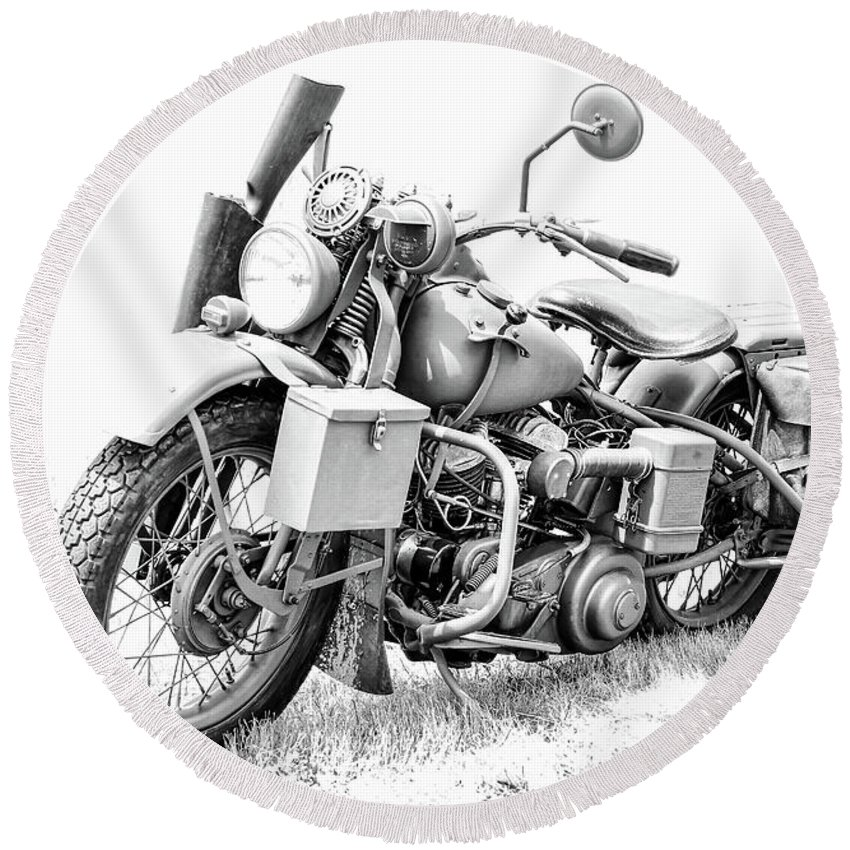 Harley Davidson Motorcycle Round Beach Towel featuring the photograph Harley Davidson Military Motorcycle Bw by Athena Mckinzie