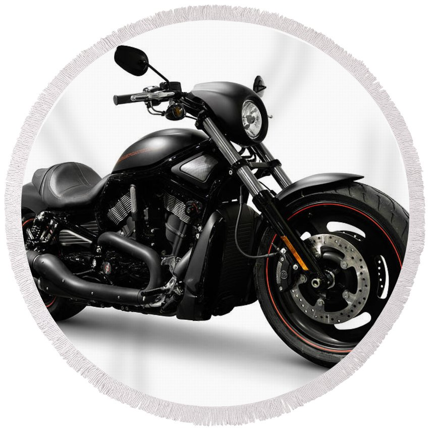 Harley Round Beach Towel featuring the photograph Harley Davidson Vrscd Night Rod Special by Maxim Images Prints