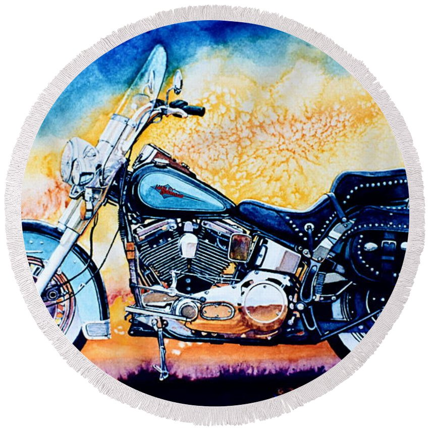 Heritage Softail Round Beach Towel featuring the painting Harley Hog I by Hanne Lore Koehler