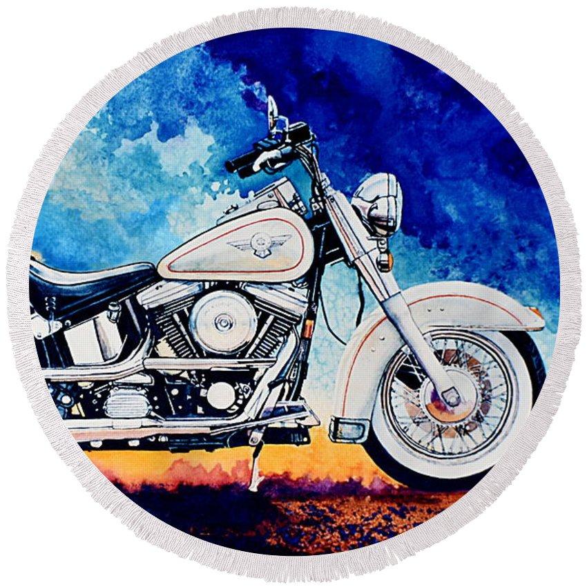 Harley Davidson Heritage Softail Round Beach Towel featuring the painting Harley Hog II by Hanne Lore Koehler