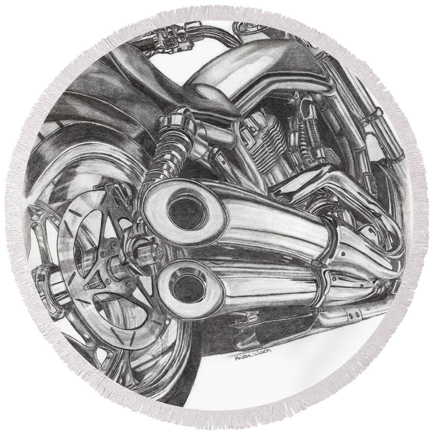 Harley Davidson Round Beach Towel featuring the drawing Harley by Kristen Wesch