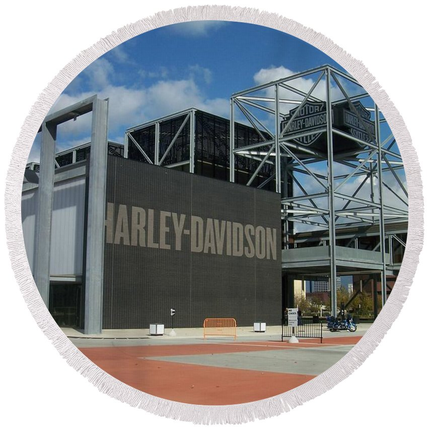 Round Beach Towel featuring the photograph Harley Museum by Anita Burgermeister