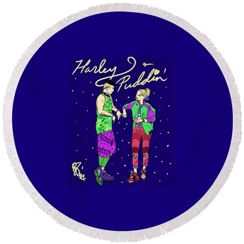 Harley Quinn Round Beach Towel featuring the photograph Harley N Puddin by Selena Francois