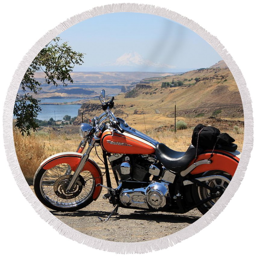 Washington State Round Beach Towel featuring the photograph Harley With Columbia River And Mt Hood by Carol Groenen