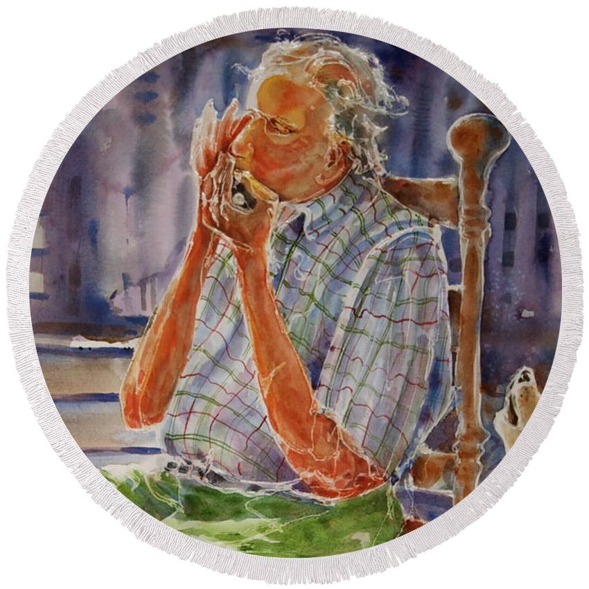 Harmonica Round Beach Towel featuring the painting Harmonica Player And A Howler by Shirley Sykes Bracken