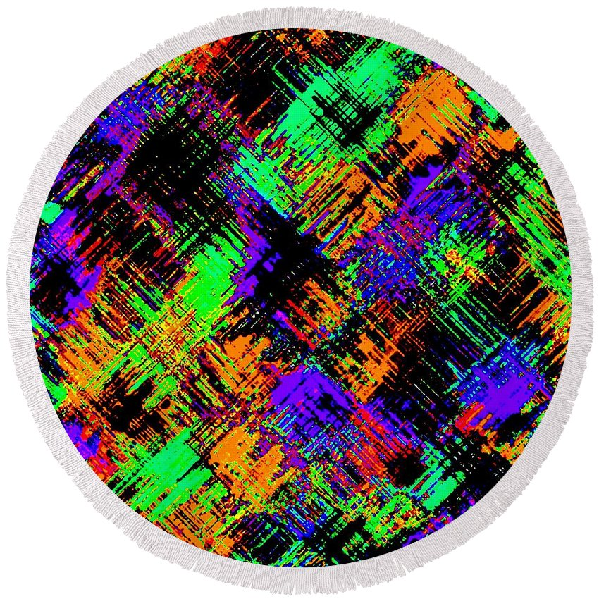 Abstract Round Beach Towel featuring the digital art Harmony 15 by Will Borden