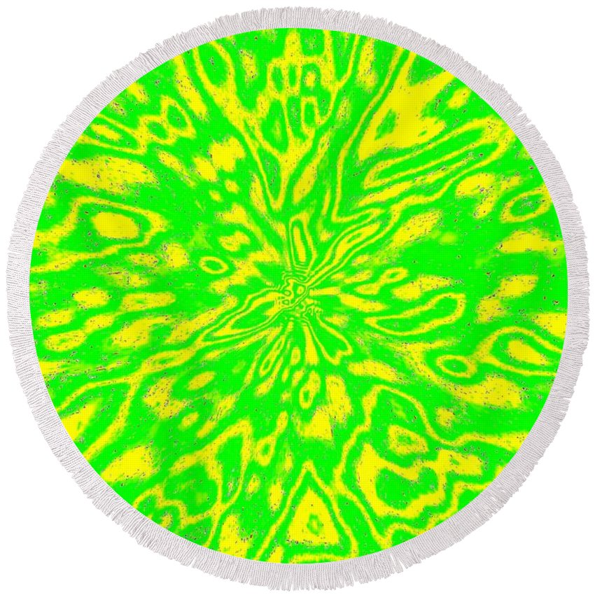Abstract Round Beach Towel featuring the digital art Harmony 16 by Will Borden