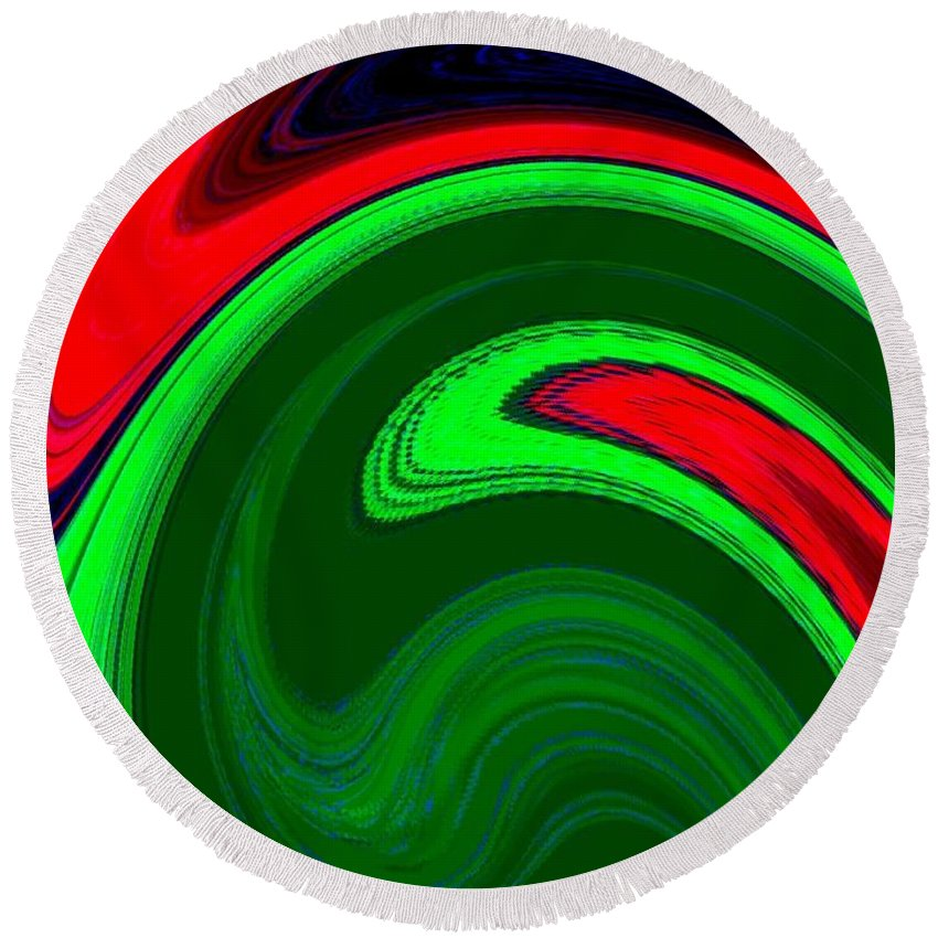Abstract Round Beach Towel featuring the digital art Harmony 20 by Will Borden