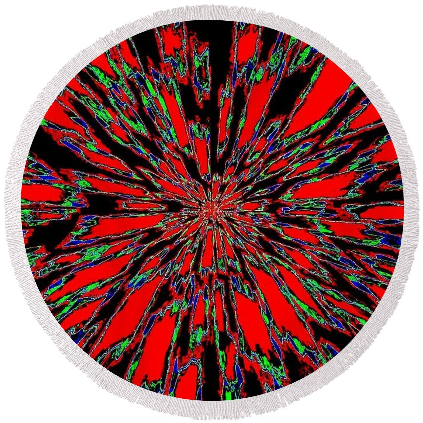 Abstract Round Beach Towel featuring the digital art Harmony 37 by Will Borden