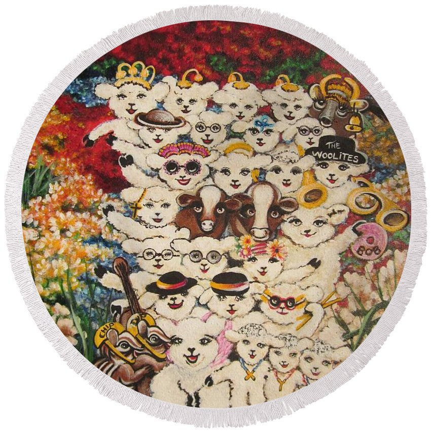 Baby Lambs Round Beach Towel featuring the painting Flying Lamb Productions     Harmony Creative Village Group Portrait by Sigrid Tune
