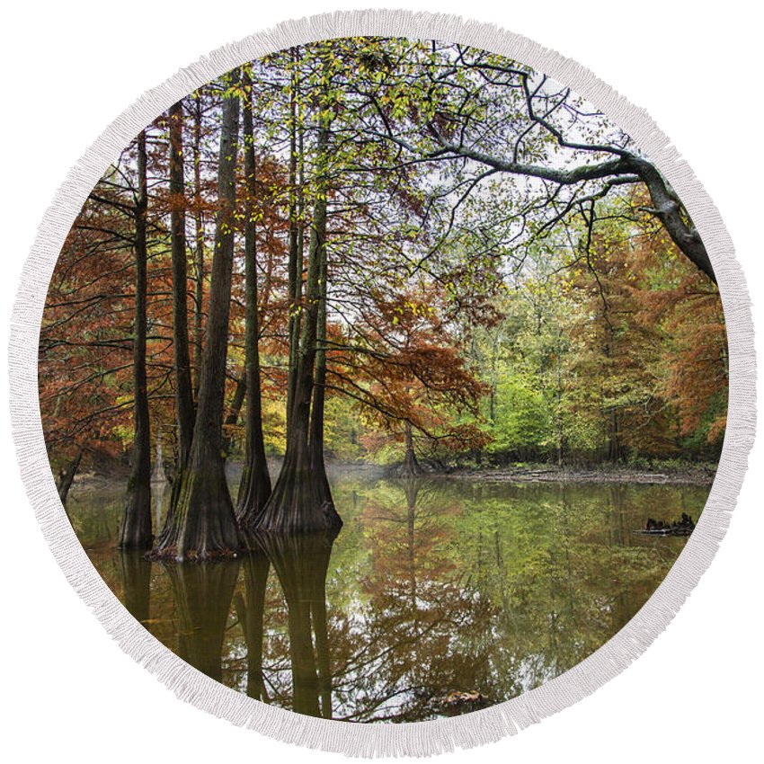 2015 Round Beach Towel featuring the photograph Harmony Of The Swamp by Larry Braun