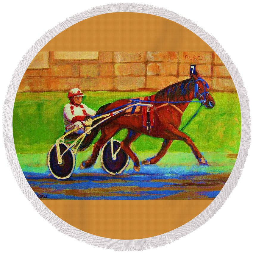 Harness Racing Round Beach Towel featuring the painting Harness Racing At Bluebonnets by Carole Spandau