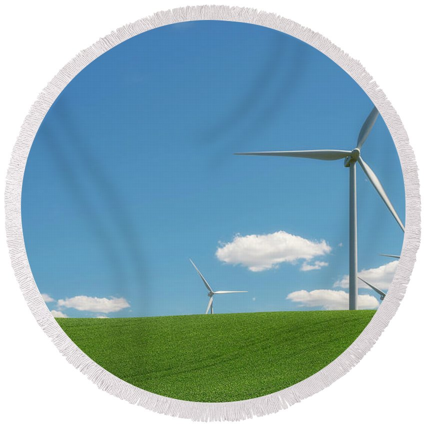 Palouse Round Beach Towel featuring the photograph Harnessing Wind by Ryan Manuel