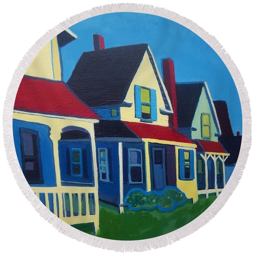 Maine Round Beach Towel featuring the painting Harpswell Cottages by Debra Bretton Robinson