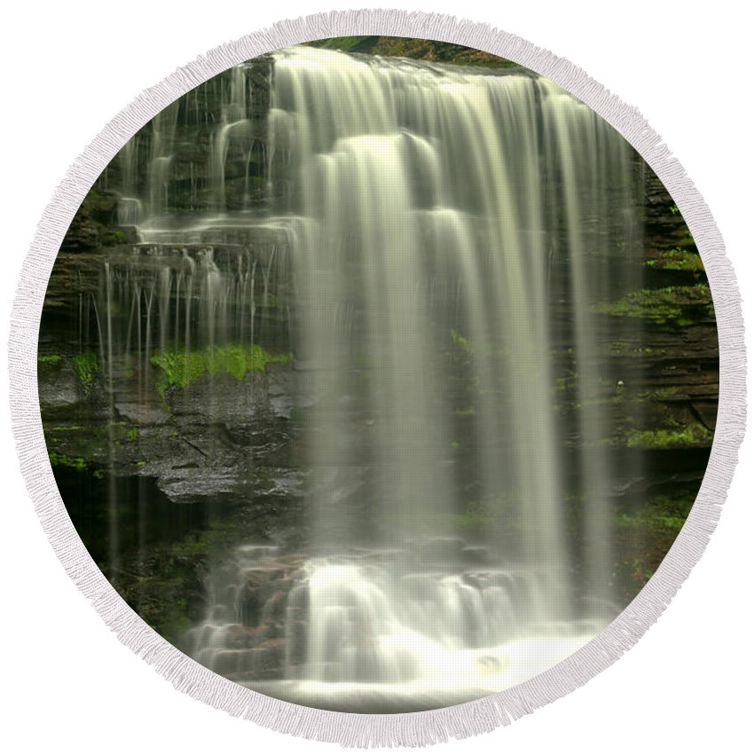 Harrison Wrights Round Beach Towel featuring the photograph Harrison Wrights Falls by Adam Jewell