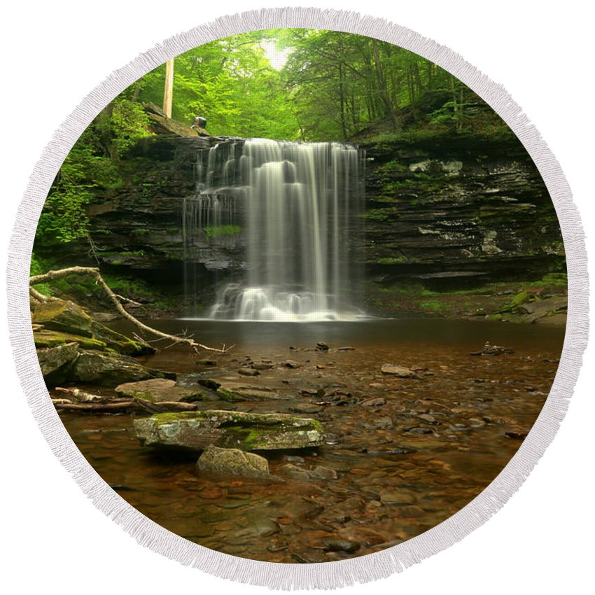 Harrison Wrights Round Beach Towel featuring the photograph Harrison Wrights Falls In The Forest by Adam Jewell