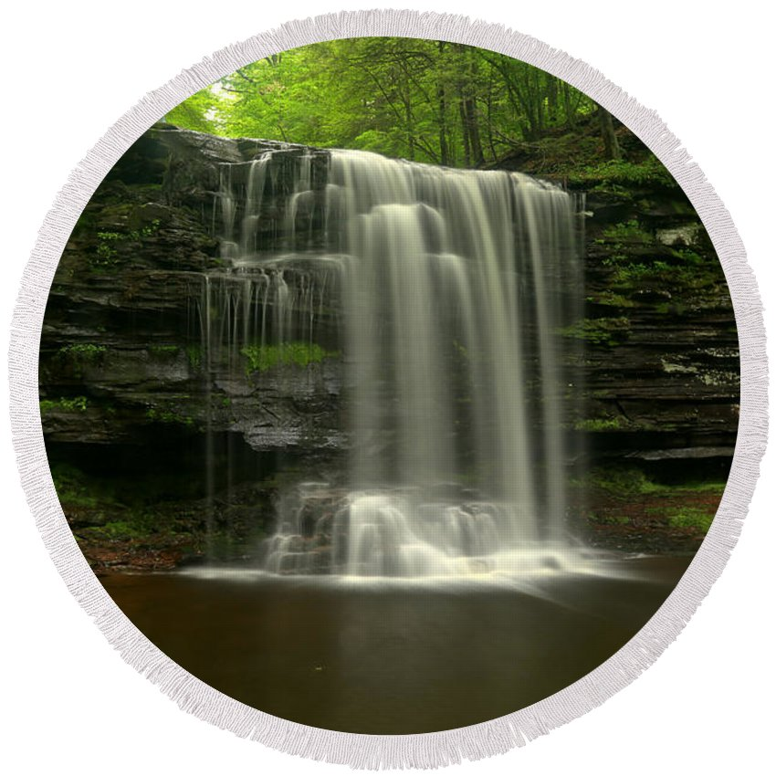 Harrison Wrights Round Beach Towel featuring the photograph Harrison Wrights Forest Falls by Adam Jewell