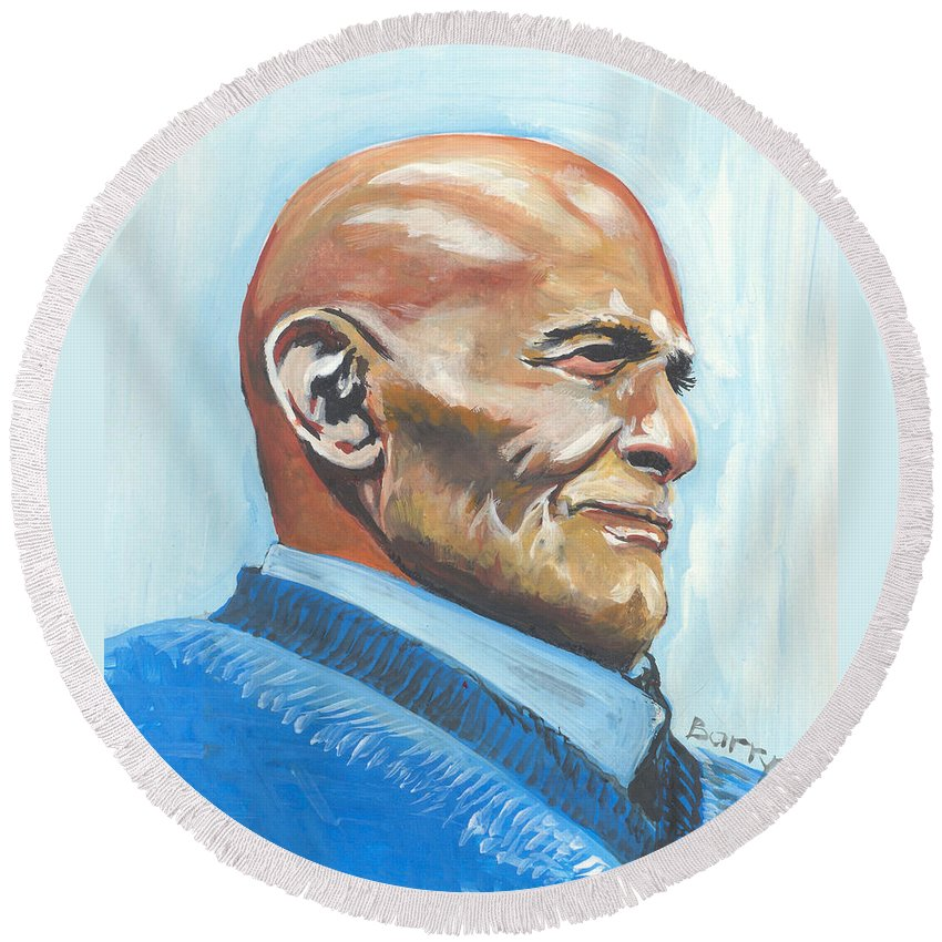 Music Round Beach Towel featuring the painting Harry Belafonte by Emmanuel Baliyanga