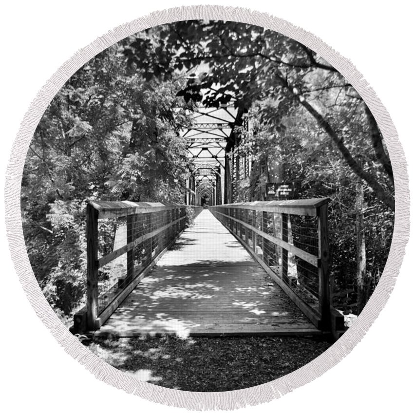 Harry Esterling Bridge Round Beach Towel featuring the photograph Harry Easterling Bridge Peak Sc Black And White by Lisa Wooten