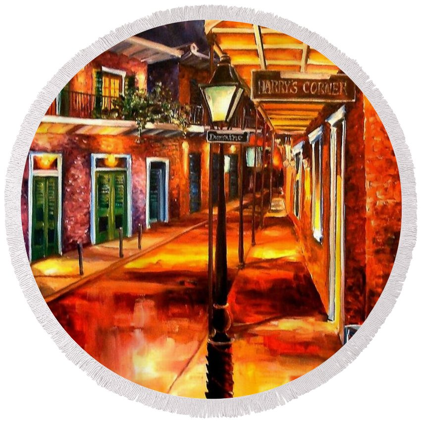 New Orleans Round Beach Towel featuring the painting Harrys Corner New Orleans by Diane Millsap