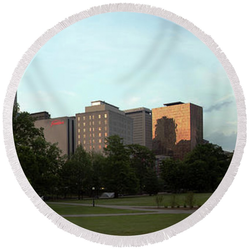 City Round Beach Towel featuring the photograph Hartford Skyline Panorama by Bill Cobb